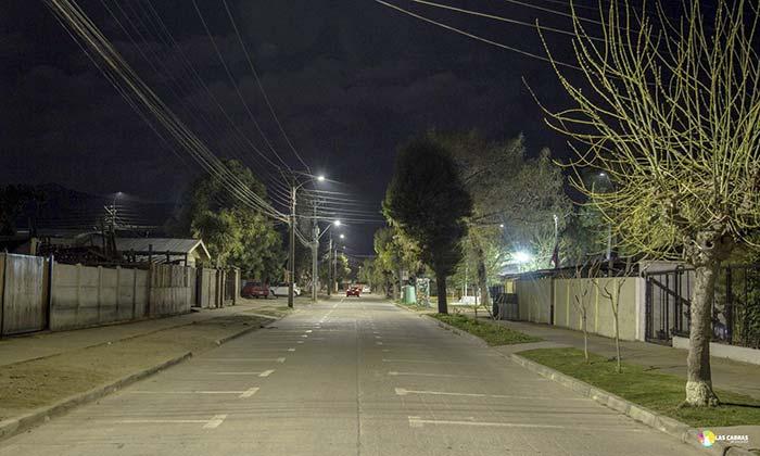 Las Cabras: Cambian luminarias por luces LED