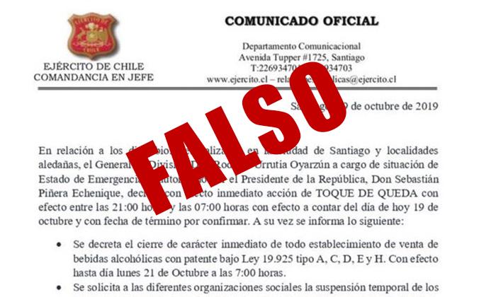 Falso: Ejército desmiente Toque de Queda