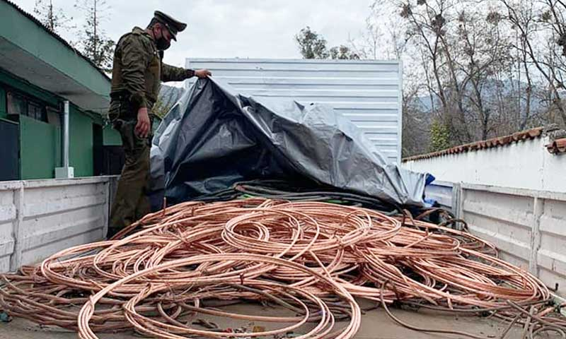 Recuperan 7 toneladas de cobre en Machalí